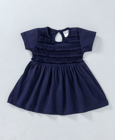 e35774ec5f4d Buy Simply Half Sleeves Smocked Bodice Frock Navy Blue for Girls (6 ...