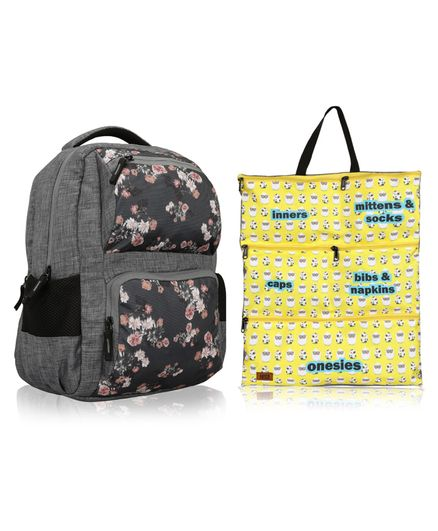 Lost & Found Water Proof Floral Printed Diaper Backpack With Organiser Pouch-0