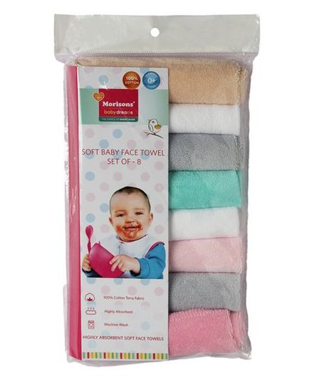 Morisons Baby Dreams Terry Cotton Baby Wash Cloth Multicolor - Set of 8