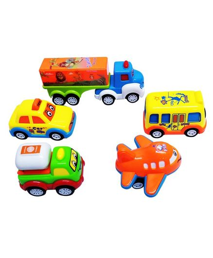 Emob Pull Back & Friction Mini Toy Car Pack of 5 - Multicolour