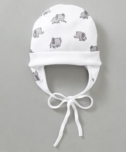 f303ac51ab1 Ben Benny Cap With Ear Flaps Elephant Print White Online in India ...