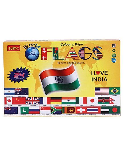 Buddyz World Flags Colour & Wipe Set - Multicolour
