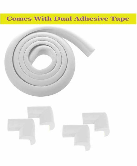 Syga Baby Safety 4 Corner Guard & 1 L Shape Edge Guard With Strong Tape - White