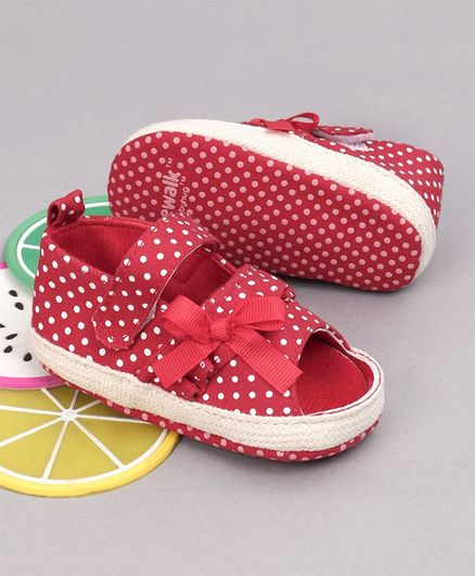 Cute Walk by Babyhug Polka Dotted Booties - Red