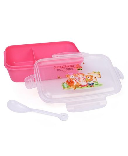 Lunch Box With Spoon - Pink White (Print May Vary)