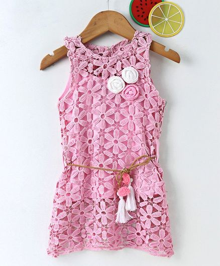 Little Kangaroos Party Wear Sleeveless Lace Frock With Inner Top Floral Appliques - Pink