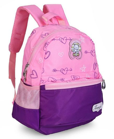 School Bag Heart Print Purple And Pink - 12 Inches