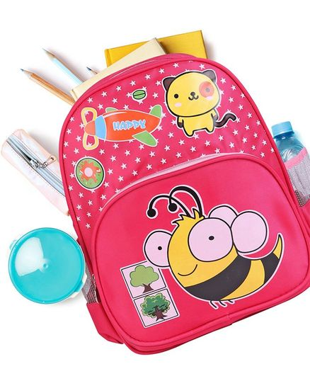 School Bag Honeybee Print Pink - 12 Inches