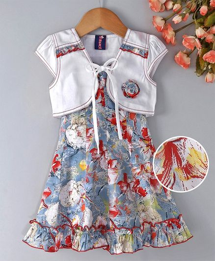 Enfance Core Flower Print Sleeveless Dress With Jacket - Blue & Red
