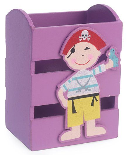 Wooden Pencil Stand Pirate Design - Light Violet