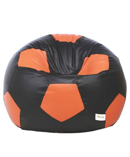 Remarkable Sattva Football Bean Bag Cover Without Beans Xxl Black Orange Machost Co Dining Chair Design Ideas Machostcouk