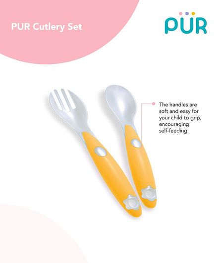Pur Baby Cutlery Set With Travel Case - White