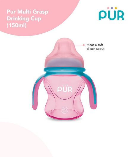 Pur Multi Grasp Triple Handle Sipper Cup Pink Blue - 150 ml