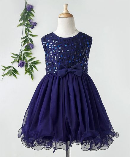 1a9be7c2729 Buy Babyhug Sleeveless Sequins Yoke Party Frock Navy Blue for ...