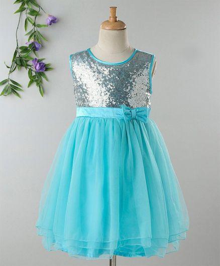 01aa1640b92 Buy Babyhug Sleeveless Sequins Yoke Party Frock Blue for Girls (3-4 ...