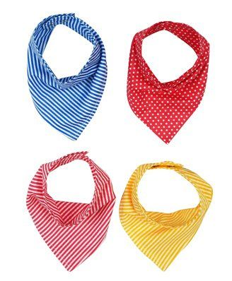 Wobbly Walk Bandana Style Printed Bibs Pack of 4 - Multicolour