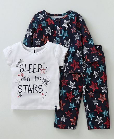 Babyoye Full & Half Sleeves Printed Night Wear Pack of 3 - Multicolor