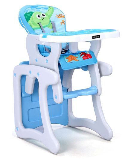 Babyhug Candy 2 in 1 High Chair With Cushioned Seat & 5 Point Safety  Harness Blue Online in India, Buy at Best Price from Firstcry com - 2507429