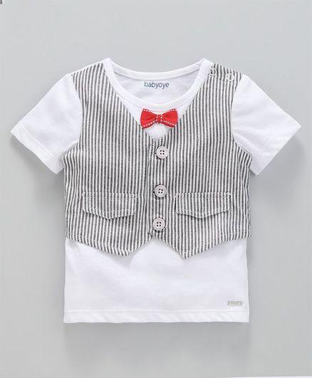 2d1097219 Buy Babyoye Half Sleeves Waistcoat Style Cotton Tee With Bow White ...