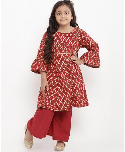 3a61d44e15 Buy Bitiya By Bhama Self Design Full Sleeves Kurta With Palazzo Set ...