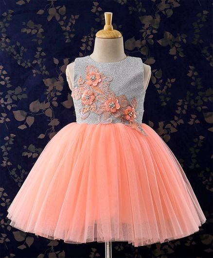 Bluebell Sleeveless Party Wear Frock With Floral Embellished Bodice - Peach Silver