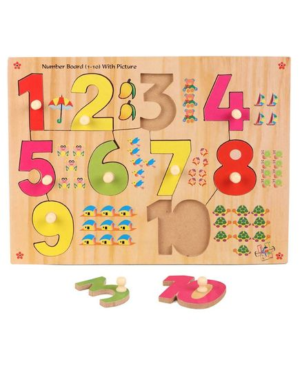 Kinder Creative Wooden Number And Picture With Knobs Puzzle (Color May Vary)
