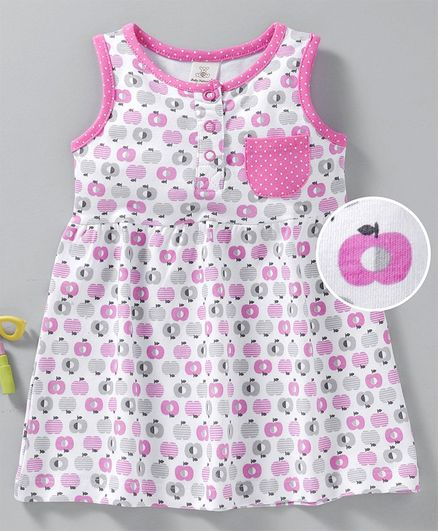 90a6f352f17 Buy Baby Naturelle & Me Sleeveless Frock Apple Print Pink for Girls (6 ...