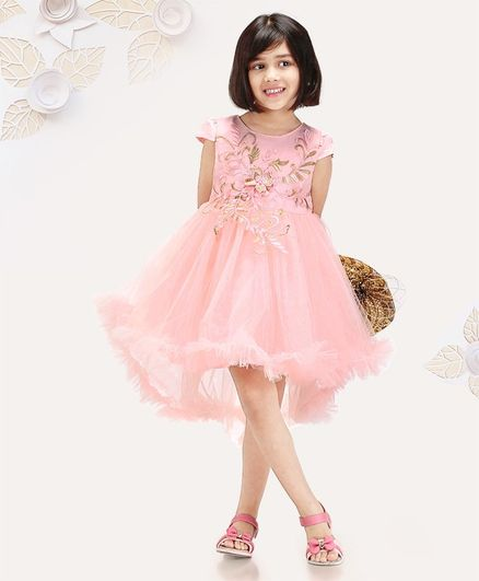 6300525d34a64 Buy Mark & Mia Cap Sleeves Asymmetric Frock Lace Detailing Peach ...