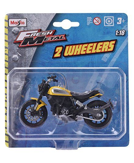 Maisto Fresh Metal 2 Wheelers Die Cast & free Wheel Toy Bike - Yellow Black