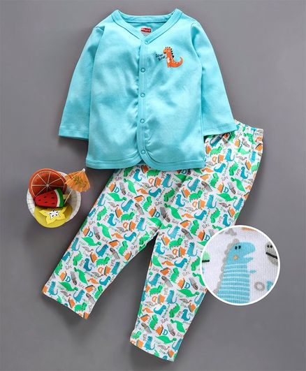 Babyhug Full Sleeves Cotton Night Suit Dino Print - Blue White