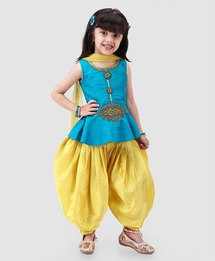 b4e1870e08 Babyhug Sleeveless Embroidered Patiala Suit With Dupatta - Blue Yellow