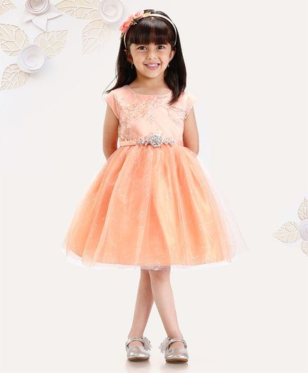 def43dc10ee5b Buy Mark & Mia Sleeveless Frock Bow Applique Light Orange for Girls (3-4  Years) Online in India, Shop at FirstCry.com - 2516113