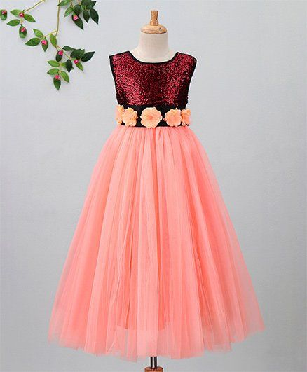 Toy Balloon Flower & Sequins Embellished Sleeveless Gown - Peach