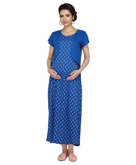 c156b5dd366 Kriti Half Sleeves Maternity Nighty Floral Print Dark Blue Online in ...