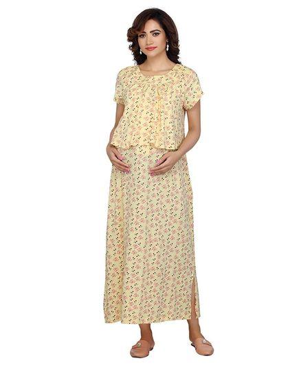 81e3011b54a59 Kriti Half Sleeves Maternity Nighty Floral Print Light Yellow Online in ...