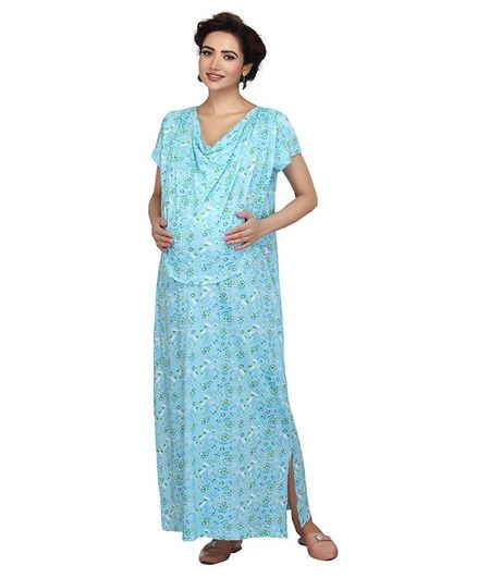 f0672200f4b Kriti Half Sleeves Maternity Nighty Floral Print Light Blue Online in ...