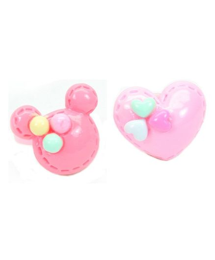 Asthetika Mouse & Heart Applique Set Of 2 Finger Rings - Pink