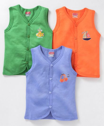Babyhug Sleeveless Cotton Vests Pack of 3 - Green Blue Orange