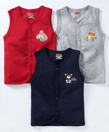 Babyhug Sleeveless Cotton Vests Pack of 3 - Red Navy Grey
