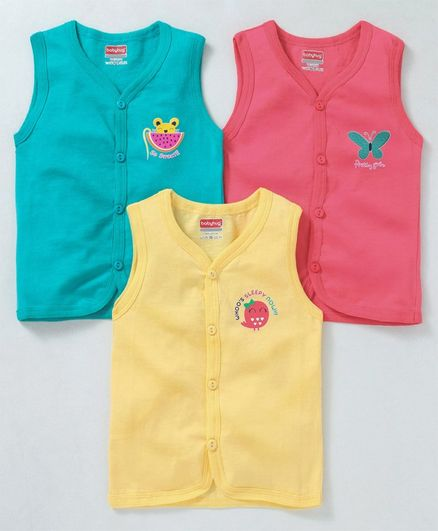 Babyhug Sleeveless Cotton Vests Pack of 3 - Pink Yellow Blue