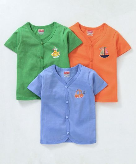 Babyhug Half Sleeves Cotton Vests Pack of 3 - Green Orange Blue