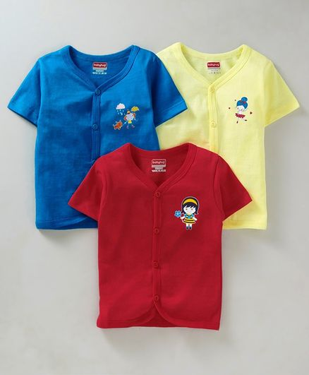 Babyhug Half Sleeves Cotton Vests Pack of 3 - Blue Red Yellow