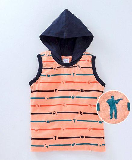 dffacde845482 Buy Taeko Sleeveless Hooded Tee Trumpet Print Light Orange for ...