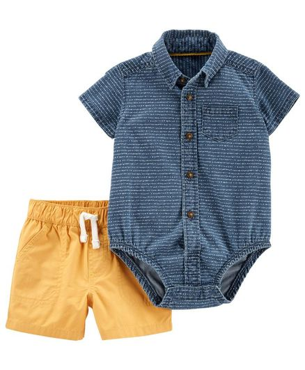 Carter's 2-Piece Denim Button-Front Bodysuit & Poplin Short Set - Blue