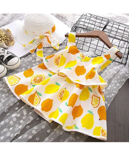 Buy Awabox Lemon Print Sleeveless Dress With Hat Set Yellow for Girls (2-3  Years) Online in India, Shop at FirstCry com - 2524966