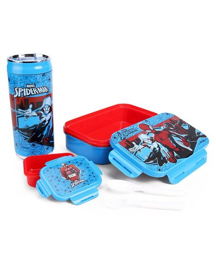 Marvel Spider Man Combo Of Insulated Lunch Box and Water Bottle - Blue
