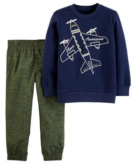 Carter's 2-Piece Airplane Fleece Top & Poplin Pant Set - Navy Blue