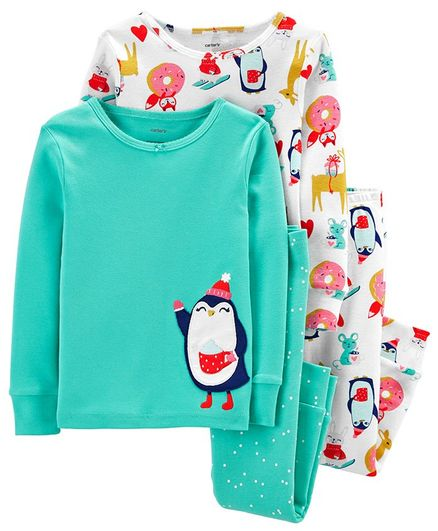 Carter's 4-Piece Penguin Snug Fit Cotton PJs - Multicolor
