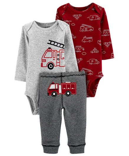 Red Carter/'s Baby Boys 4-Piece FireTruck Pajama Set Size 6 Months
