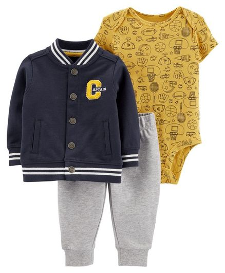 Carter's 3-Piece Varsity Sports Little Jacket Set - Navy Blue